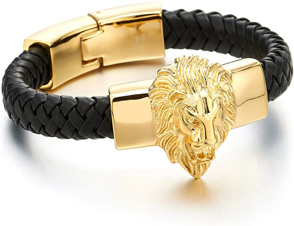COOLSTEELANDBEYOND Mens Large Braided Leather Bracelet with Steel Gold Color Lion and Black Genuine Leather Straps