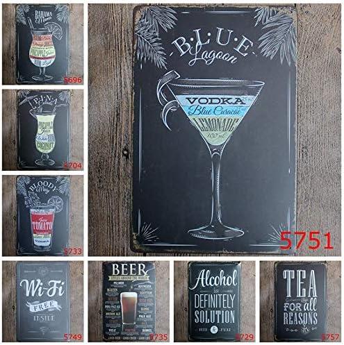 Gespout Plaque en M/étal Vintage Home Bar Sticker Mural de D/écoration Style 10