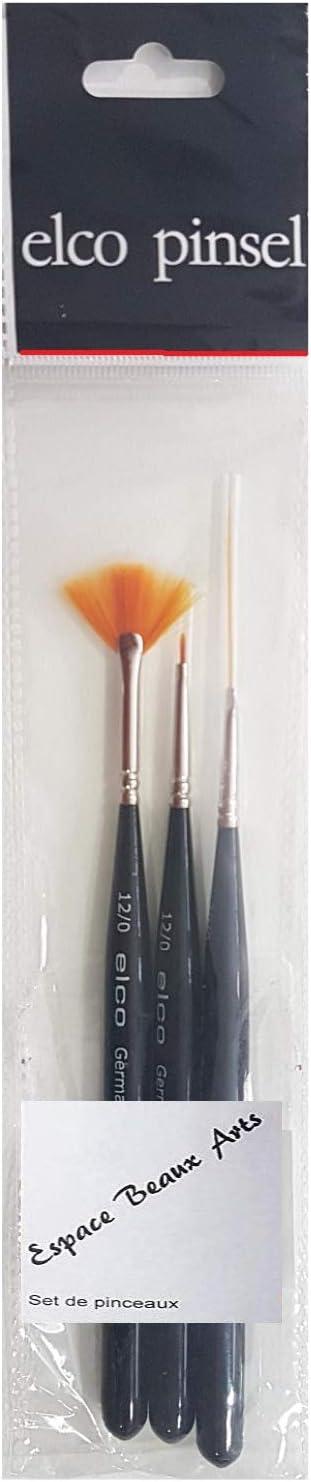 Peinture /à lhuile et Acrylique Germany elco ESPACE BEAUX ARTS Pinceau synth/étique,Set 3pcs pour Aquarelle