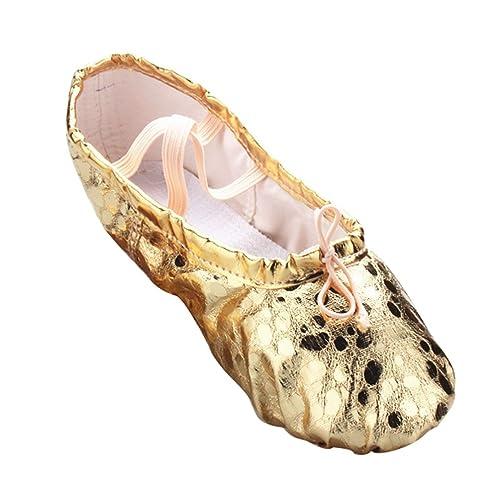 LINNUO Zapatillas Punta de Ballet Baile Danza para Niñas Suela de Cuero Gimnasia Yoga Zapatos: Amazon.es: Zapatos y complementos