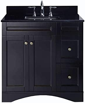 Elise 36 Single Bath Vanity In Espresso With Black Galaxy Granite Top And Square Sink With Polished Chrome Faucet Amazon Com