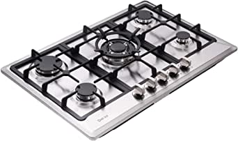 Deli-kit 30 inch Gas Cooktops NG/LPG Sealed 5 Burners Gas Cooktop Drop-In Stainless Steel Gas Hob DK257-A02 Gas Cooktop