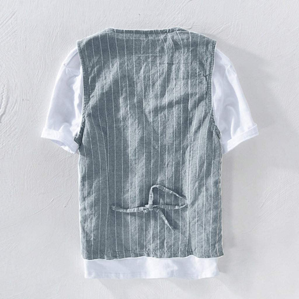 Rosennie Tank Top Jacke Top Bluse f/ür Herren Leinen Top Herren Freizeit Gestreift Weste Tops Sommer Tank T-Shirt Leinen Shirt Fitness Mode Weste Jacke Anzug