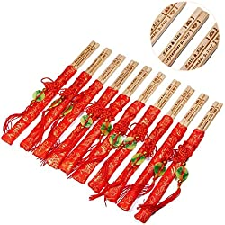 100 Pairs 10 Inch Natural Bamboo Chopsticks with Red Embroidery Pouches – With Custom Personalized Engraving of Names and Date – For Chinese or Japanese Traditional Wedding Favors and Wedding Dinner
