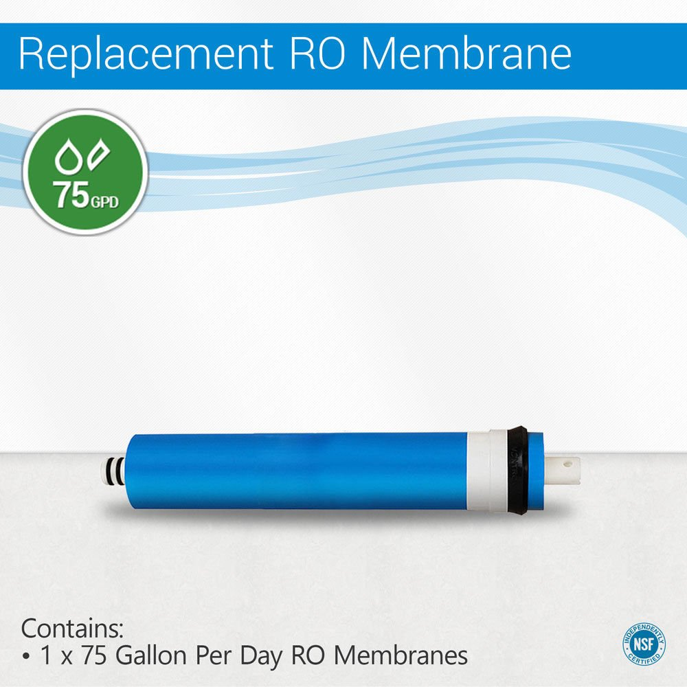 75 GPD Reverse Osmosis Water Filter System Membrane Size 1812 NSF Certified