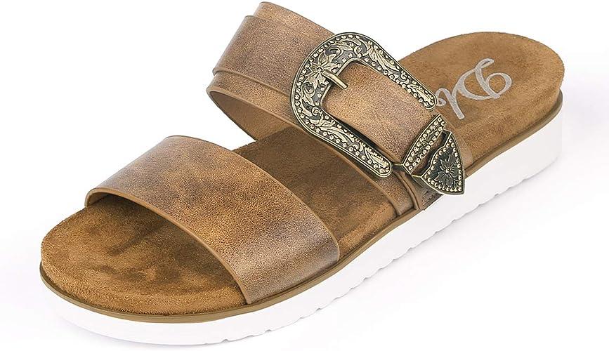 New Women Double Strap Slide Sandals EVA Sole Flat Comfort Shoes