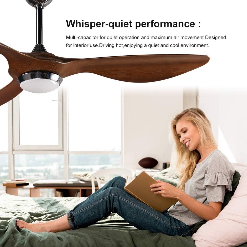 H&Fun 132CM Ventilador de Techo con Kit de Luz LED Control Remoto, 3 Cuchillas Modernas, 6 Velocidades, Motor Silencioso Reversible - Pintado A Mano: Amazon.es ...
