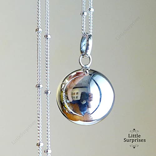 Amazon 16mm relaxation calming chime sound angel caller 16mm relaxation calming chime sound angel caller sterling silver harmony ball 30quot necklace ls71 aloadofball Image collections