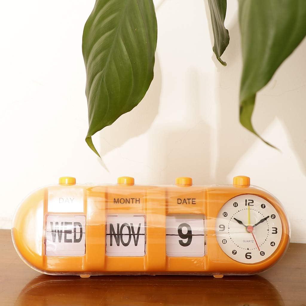 Verde PETSOLA Orologio da Tavolo da Scrivania in Metallo con Retro Moderno E Digitale