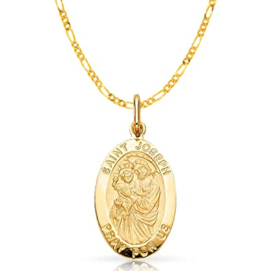 14K Yellow Gold St Joseph Pray For Us Religious Charm Pendant For Necklace or Chain Ioka