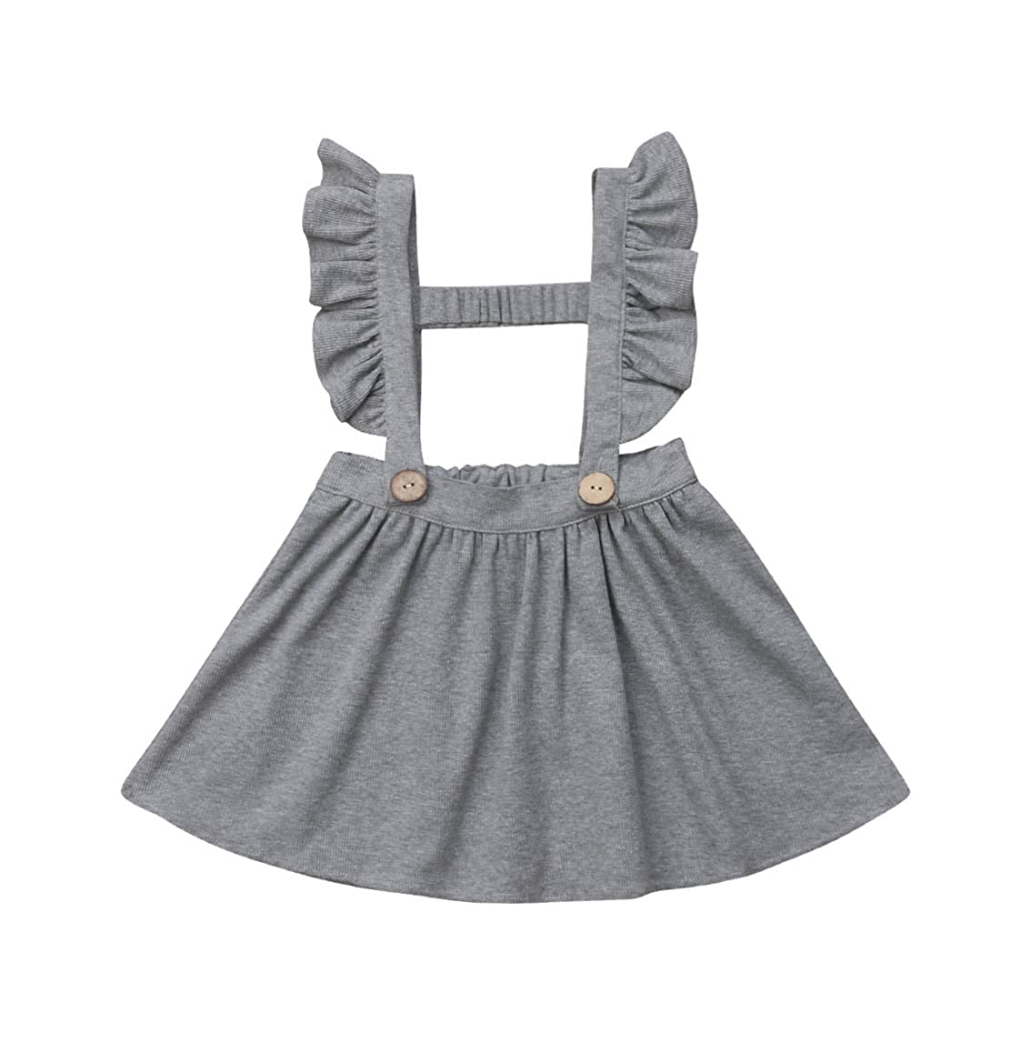 Toddler Kid Baby Girl Ruffle Strap Suspender Skirt Solid Overalls Dress Button A-Line Braces Skirt
