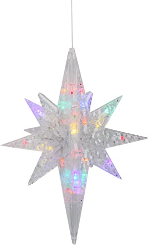 20 Pre-Lit Clear 3D LED and Morphing Bethlehem Star Christmas Decor – Multicolor Lights