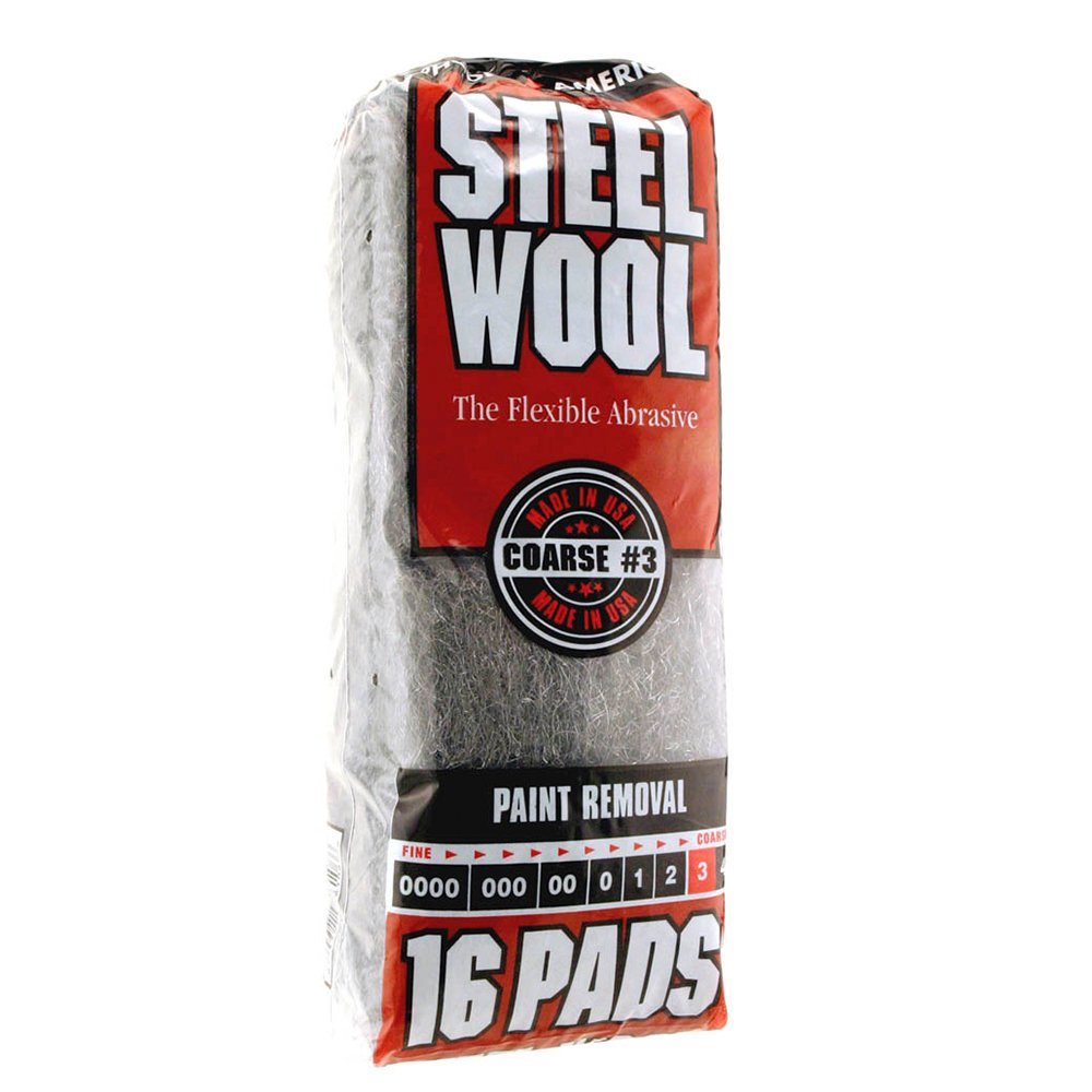 Steel Wool, 16 pad, Coarse Grade #3, Rhodes American, Paint Removal PPG 033873161066