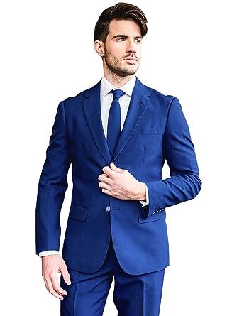 Dressvip Nuptial Costume Homme pour Mariage Affaires 2018 Couleur Unie Bleu  Saphir 2 Pièces Veste Pantalons ba584df43d0