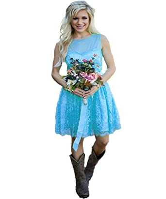STDRESS Lace Short Bridesmaid Formal Dress Country Wedding Party ...