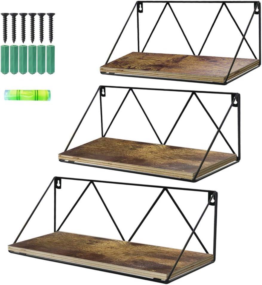 Artsay Floating Wall Shelves Set of 3 Rustic Wood Storage Shelf for Bathroom Kitchen Living Room Bedroom