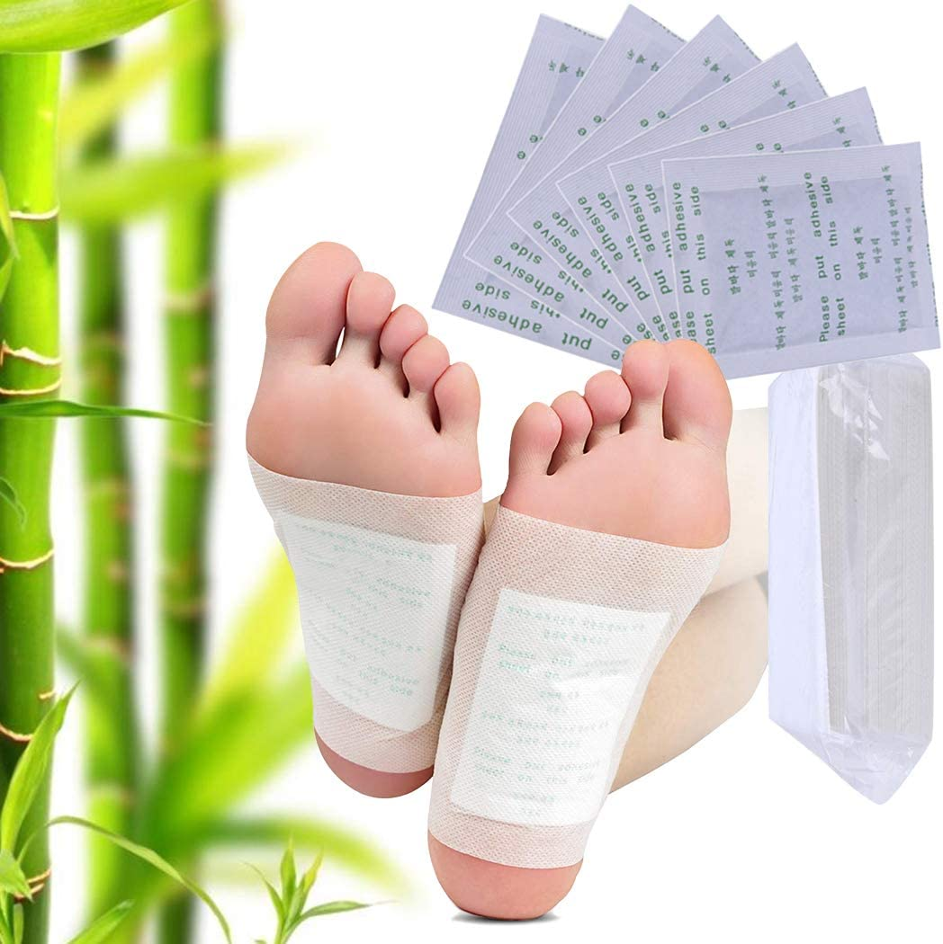 FunPa 100PCS Foot Pads Professional Anti-Stress Relief Foot Pads Natural Ginger Foot Health Care with Adhesive Sheets for Removing Impurities, Relieve Stress Improve Sleep