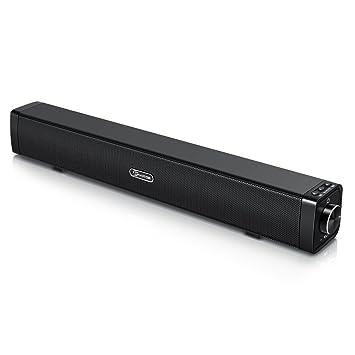 Barra de Sonido para TV, EIVOTOR Barra Inalámbrica PC Estéreo Altavoces USB Portatil 10W 17 Pulgadas Caja BT 4.2 con Puerto AUX de 3,5mm Negro: Amazon.es: ...