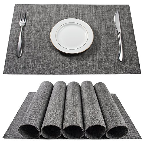 - BETEAM Placemats, Heat-Resistant Placemats Stain Resistant Anti-Skid Washable PVC Table Mats Woven Vinyl Placemats, Set of 6(Gray)
