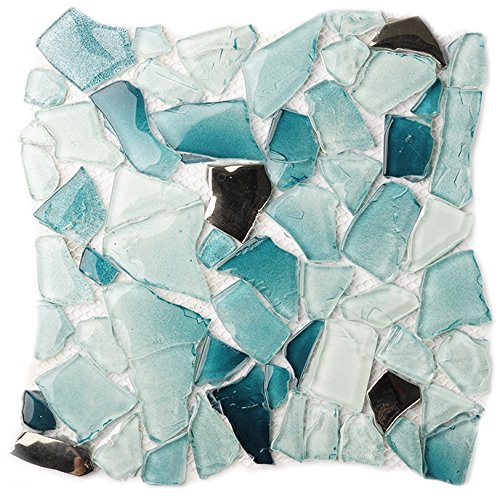 ee Pattern Design12'' x 12'' Crystal Glass Tile Kitchen Backsplash Idea Bath Shower Wall Decor Home Building material- LSWZ01 (Pack of 10.76sq.ft ) (Diy Glass Subway Peel)