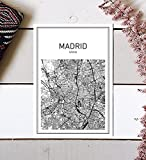 Madrid Map, Madrid Poster, Map of Madrid, Spain Poster, City Map Posters, Modern Map Art, Spain Wall Art, Map Print, Spain Map, City Prints, Black and White Map, Map Wall Art, 8x10