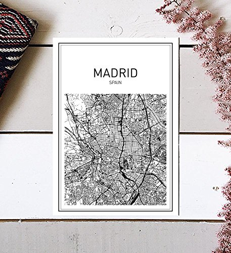 Madrid Map, Madrid Poster, Map of Madrid, Spain Poster, City Map Posters, Modern Map Art, Spain Wall Art, Map Print, Spain Map, City Prints, Black and White Map, Map Wall Art, 8x10 by MotivatedWallArt