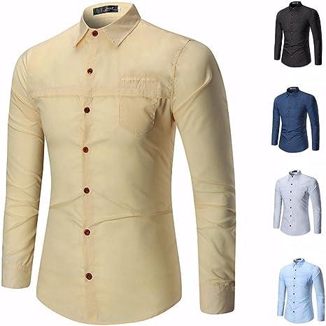 GK Hombre Camisa Moda Casual Camisa de Vestir Slim Fit Sau personalidad juvenil camisa amarilla de manga larga tendencia de ,XL: Amazon.es: Deportes y aire libre