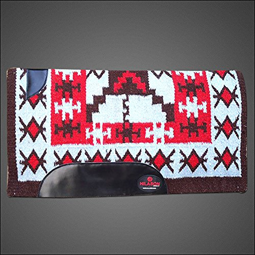 HILASON Western New Zealand Wool Horse Saddle Blanket Blue Red Brown