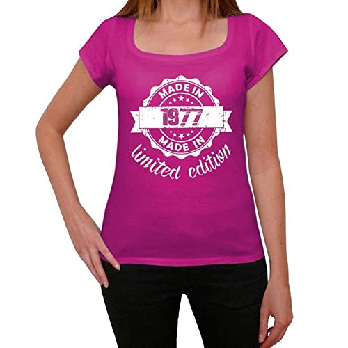 One in the City Made In 1977 Limited Edition Mujer Camiseta Rosa Regalo de Cumpleaños