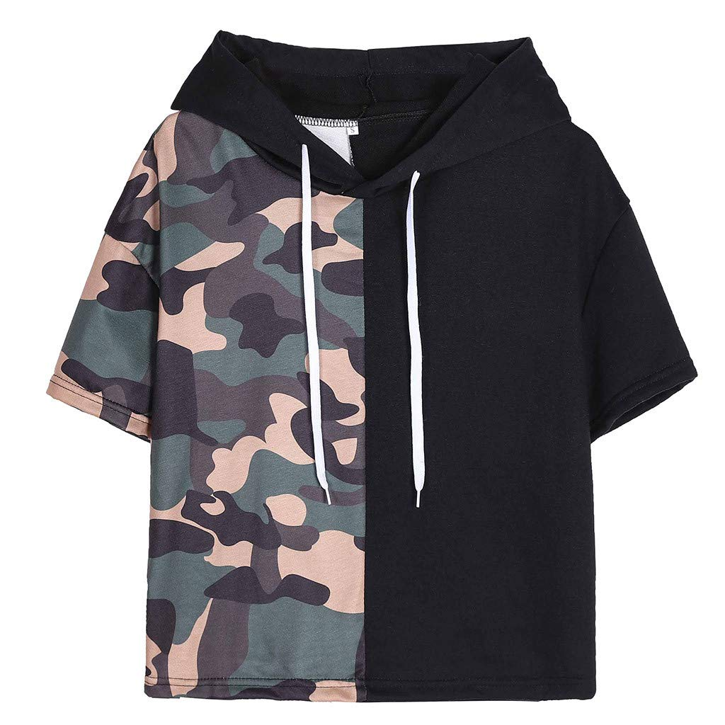 Women Short Sleeve Tops Camouflage Patchwork Blouse Hooded T-Shirt for Ladies Pullover Tee Vest Tank Tops