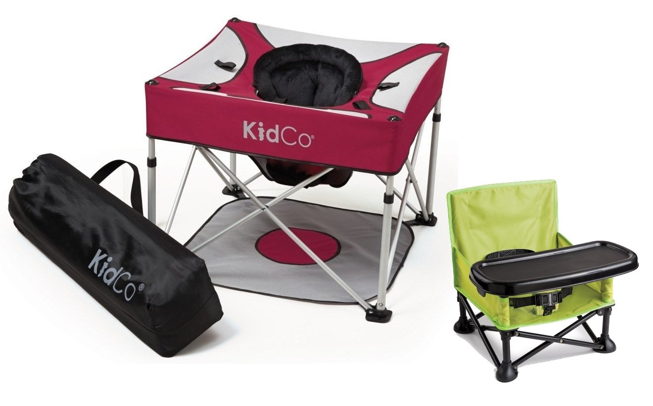 KidCo Go Pod Plus Portable Activity Seat with On The Go Booster, Cranberry