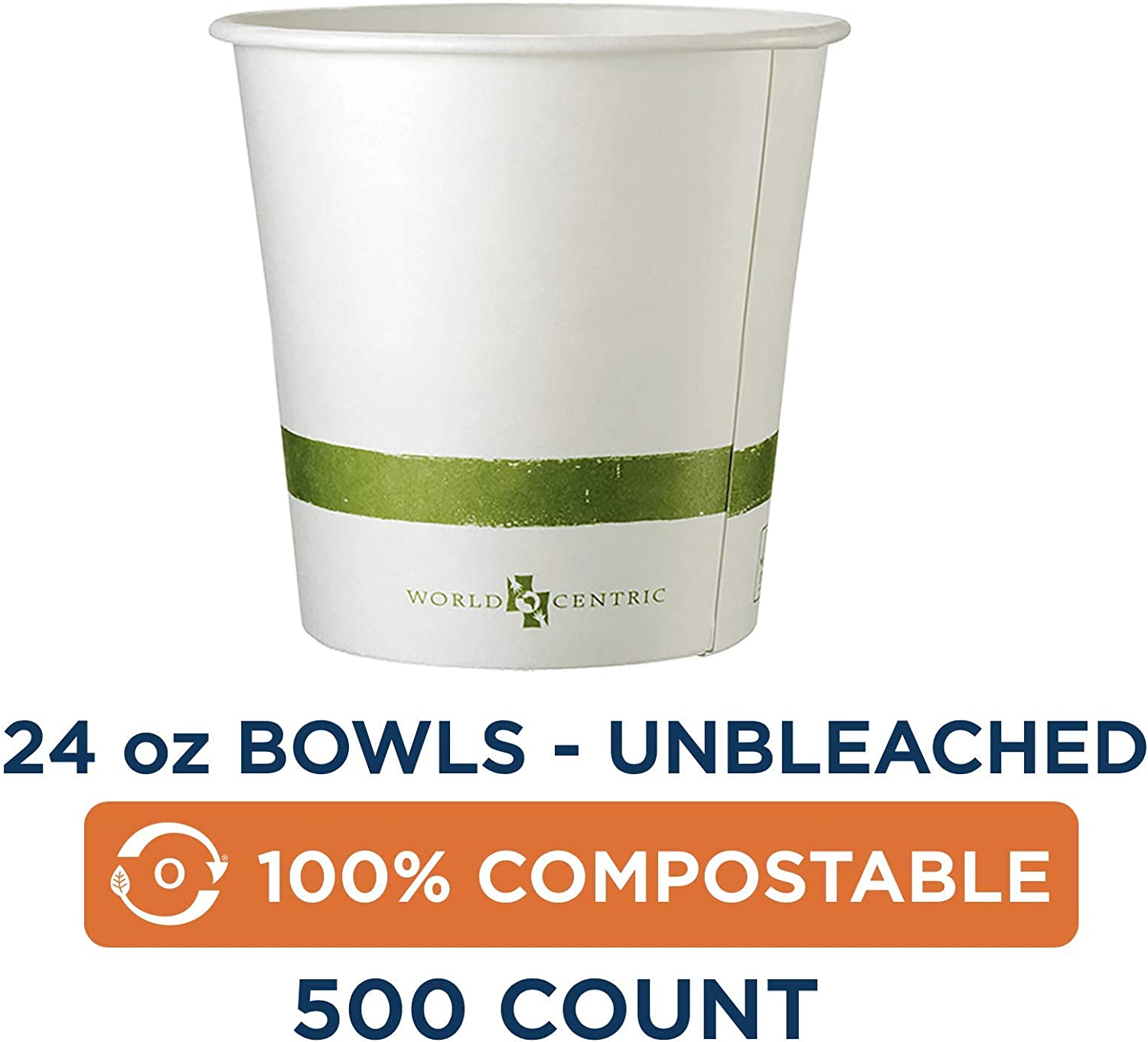 100% Compostable Bowls by World Centric, Made from Unbleached Plant Fiber, Paper Bowls, 24 oz (Pack of 500) 61ddfAOAlUL