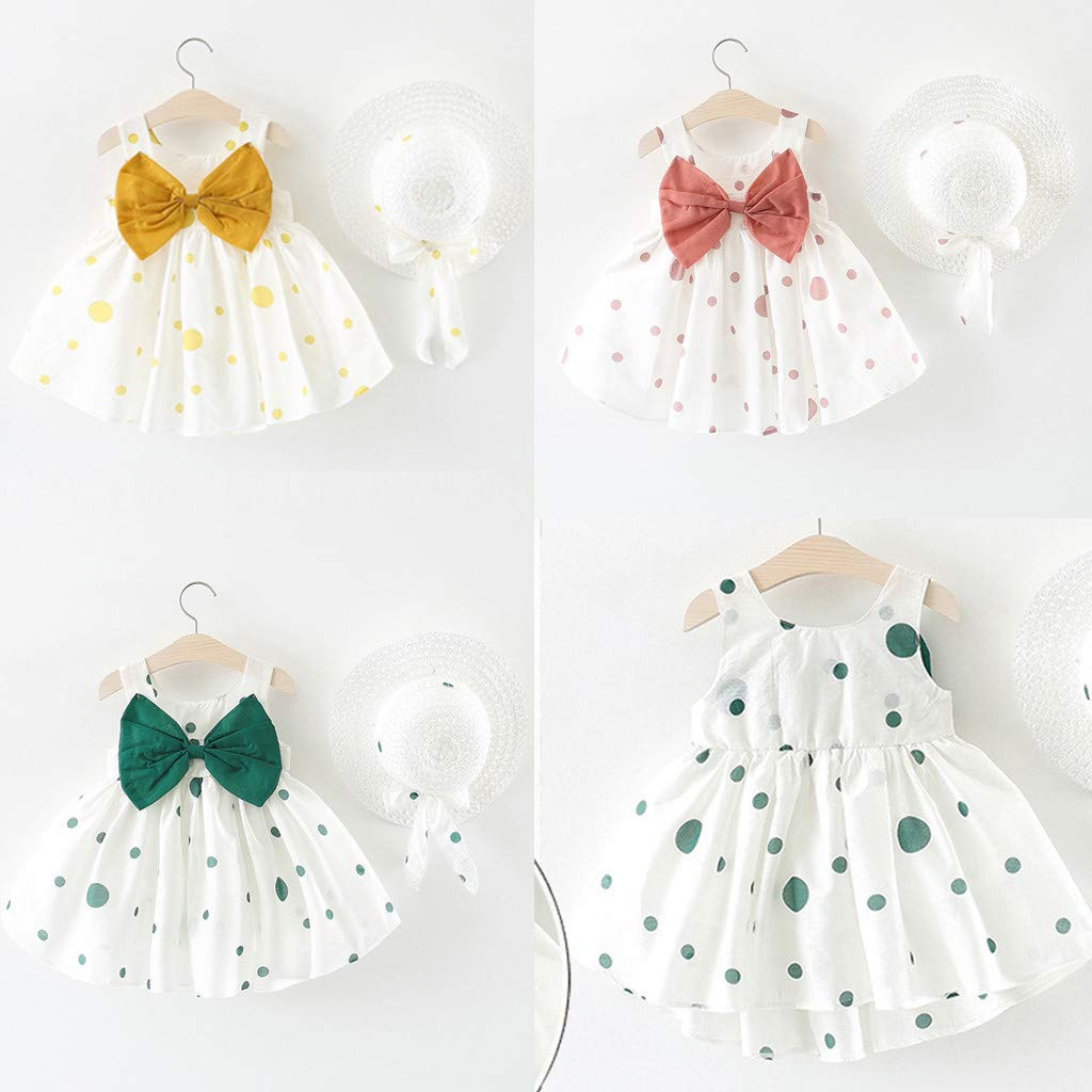 Kaicran Girls Cotton Sleeveless Polka Dot Dress Summer Casual Big Bow Dress