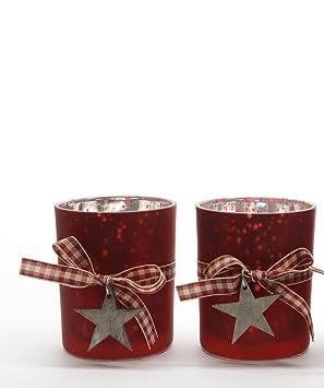 Windlicht Sterne rot Teelichthalter rot matt mit Sternen Teelicht Glas