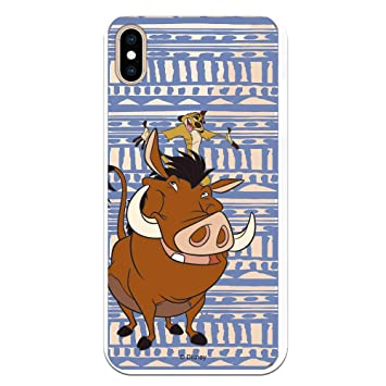 Fundas para iPhone XS MAX Oficiales de El Rey León. Carcasa para Proteger tu iPhone de Golpes con Licencia Oficial de Disney (Timón y Pumba)