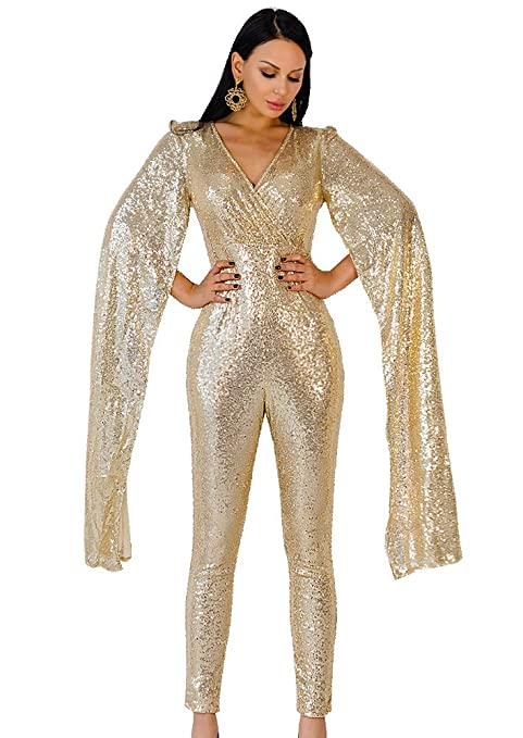 Hippie Pants, Jeans, Bell Bottoms, Palazzo, Yoga Missord Women Sexy Deep v Angel Wings Sequin Glitter Evening Party Playsuit $40.66 AT vintagedancer.com