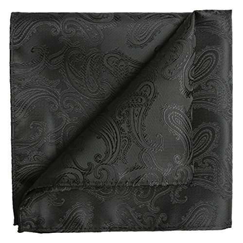 KissTies Extra Long Tie Set: Black Paisley Necktie + Hanky + Gift Box (63'' XL) by KissTies (Image #5)