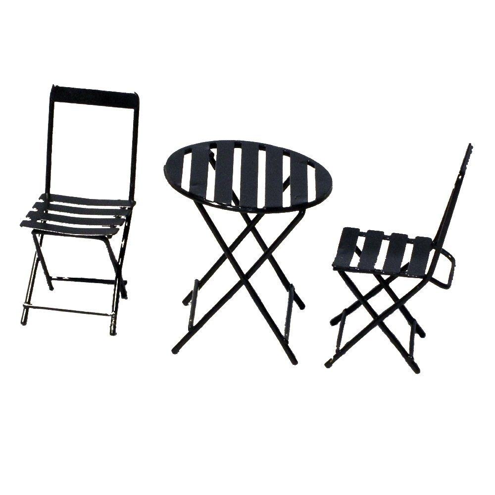 Provence BF2791 Iron Mini Fairy Garden Table & Chair (Set of 3), Black