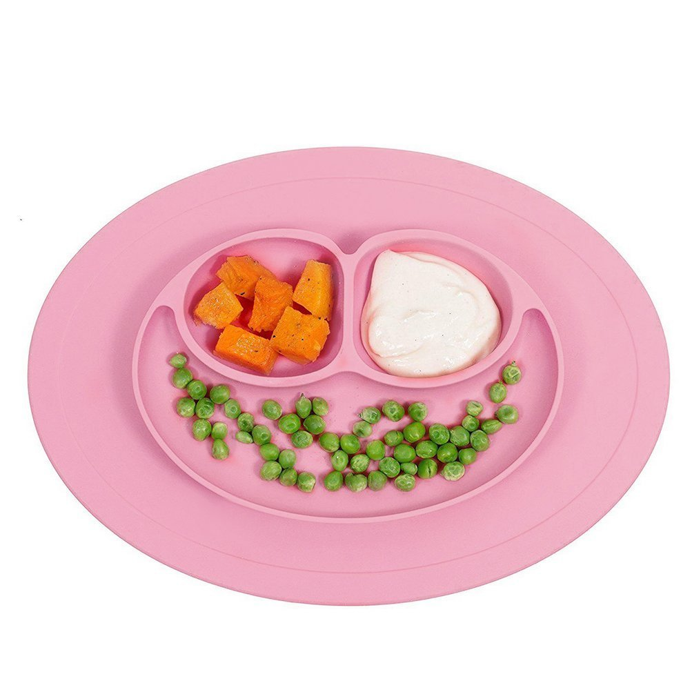 Baby Plate Frog Silicone Baby Plates Stay Put Feeding Plate Dinner Plate Child High Quality Silicone Mat for Toddler & Baby Feeding Placemat for Most Highchair Trays (Green) CDKJ