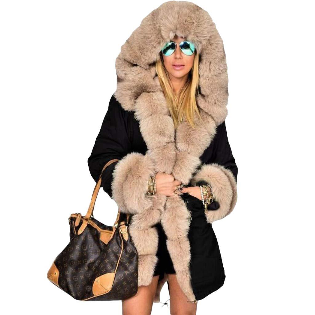 Blackkhaki VVTS Womens Hooded Faux Fur Lined Warm Coats Parkas Anoraks Outwear Winter Long Jackets