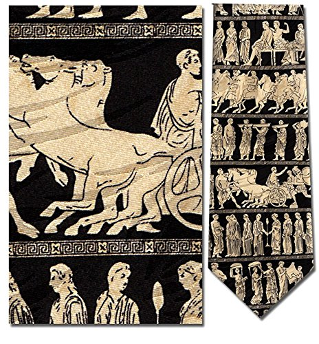 Men's 100% Silk Black Greek Gods Pan Procession Tie Necktie - History Of The Necktie