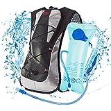 LYCAON 2L Hydration Backpack (BPA Free), 600D Waterproof Fabric, Lightweight Water Back Pack Hiking Cycling Biking Running Camping Bladder Backpacks for Kids Women Men
