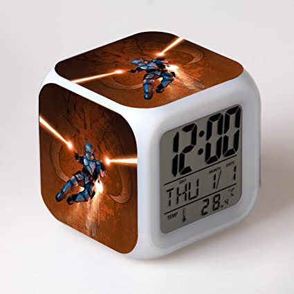 SXWY Reloj Despertador Digital Star Wars, Luces Coloridas Reloj Despertador con Humor Cuarteto Disponible Carga