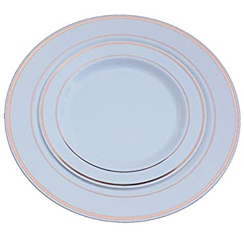 Rose Gold Band Reflective Plastic Plates-120 Pieces Premium Heavyweight Plastic Disposable Dinnerware (60  sc 1 st  Amazon.com & Amazon.com: Rose Gold Band Reflective Plastic Plates-120 Pieces ...