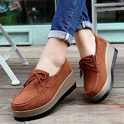 49cb7740540c HKR Women Slip On Comfort Platform Wedge Work Shoes Tassel Suede Loafers  Ladies Moccasins good