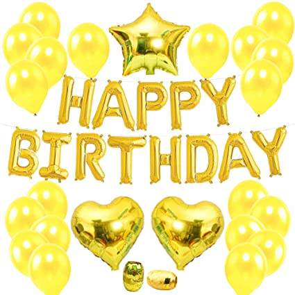 August Dream Happy Birthday Banner In Gold Party Decorations Balloons Pack Star Heart