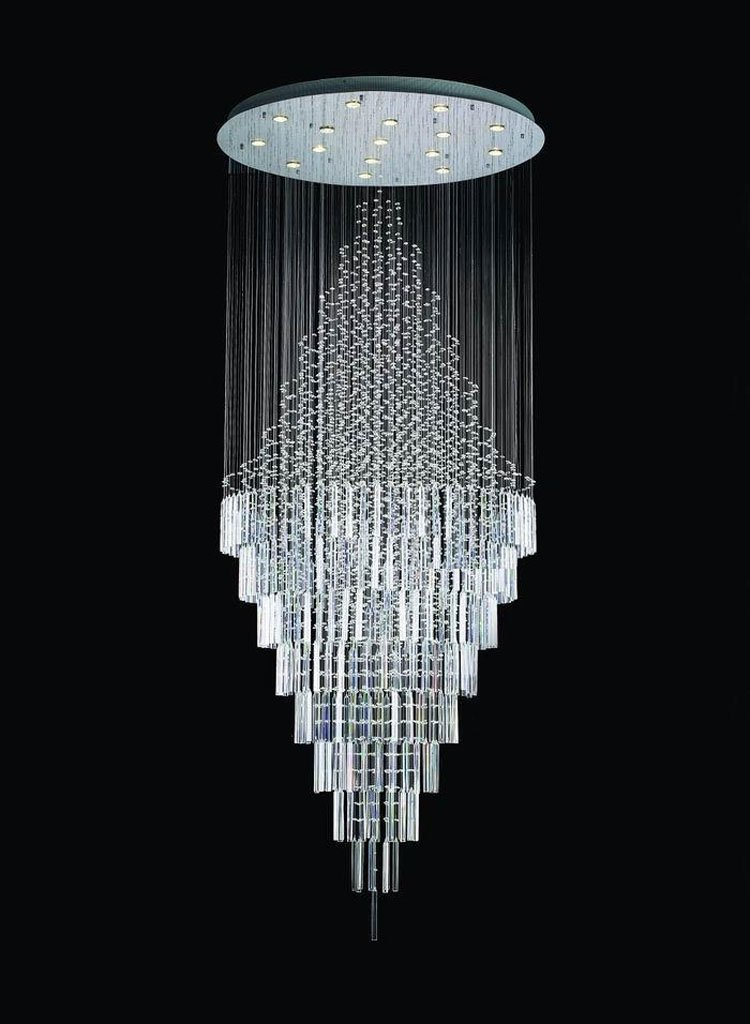 7PM D40'' X H102'' Modern Contemporary Crystal Chandelier Round LED Rain Drop Lamp for Hall Way Hotel staircase Lighting