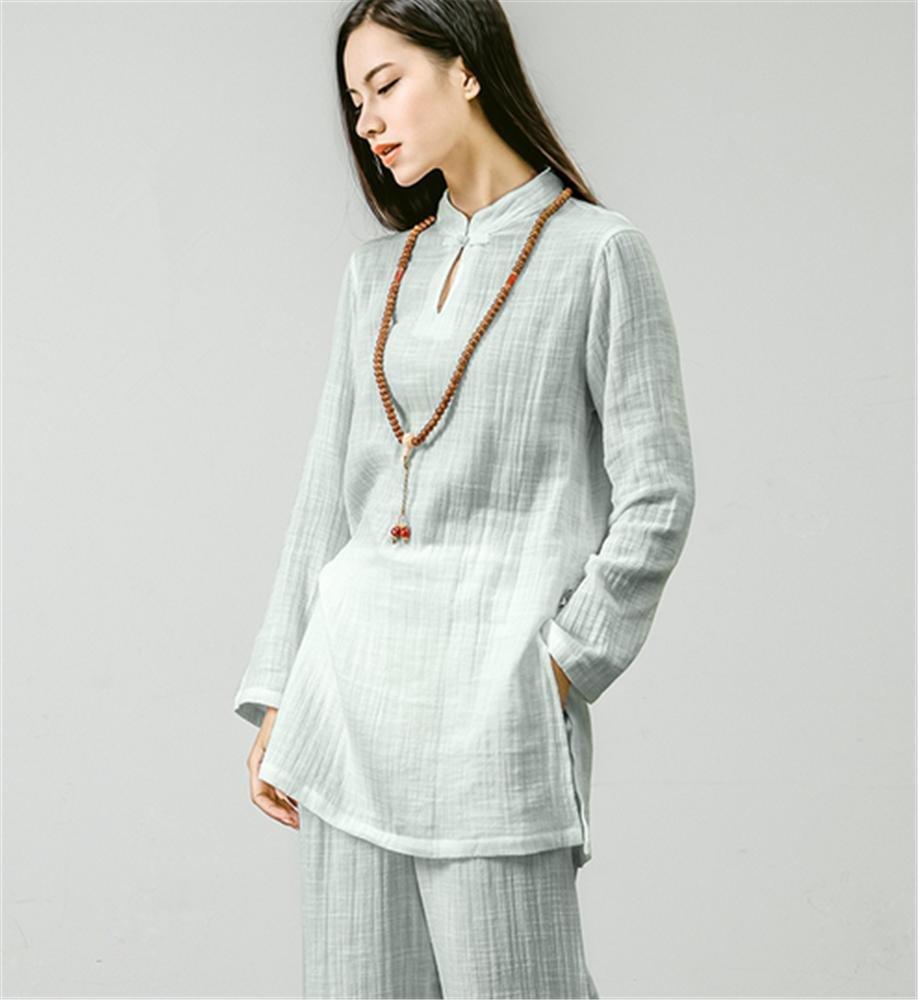 Reine Baumwolle Yoga-Kleidung Anzug/Hemd + Pants/Meditation Kleidung