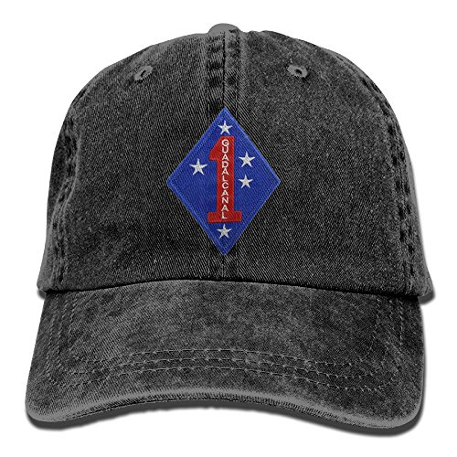 KERLANDER Marine Corps First Division Adjustable Embroidery Washed Twill Baseball Cap Dad Hat (Marine Division Hat)