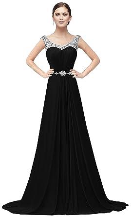7bef36bdf4f ThaliaDress Womens Chiffon Long Rhinestone Evening Gown Formal Dress T034LF  Black US0